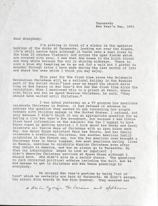 "An excerpt from a 1991 ""Dear Everybody"" letter"