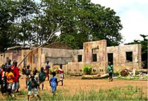 A school in Sierra Leone destroyed during the 1991-2002 civil war