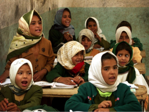 Yemeni girls in a classroom. Photo by Clinton Doggett for USAID