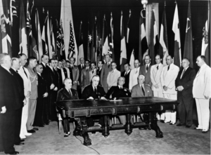 "The name ""United Nations"", coined by President Roosevelt, was first used in the ""Declaration by United Nations"" signed by representatives of 26 Allied nations in Washington, DC on January 1, 1942."