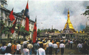 Demonstration in 1988 at the Shwedagon Pagoda in Rangoon. Source: the Irrawaddy