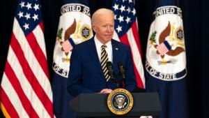 President Biden at podium delivering remarks
