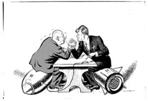Cold war cartoon, Khrushchev and Kennedy