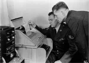 """This August 30, 1963 photo shows the White House-Kremlin """"hot line"""" becoming operational."""