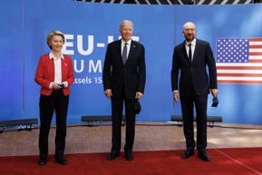 US President Biden with President of the European CommissionUrsula von der Leyenand President of the European CouncilCharles Michel at EU-US Summit June 15, 2021